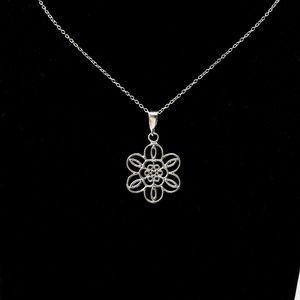 Sterling Silver Filigree Flower Necklace